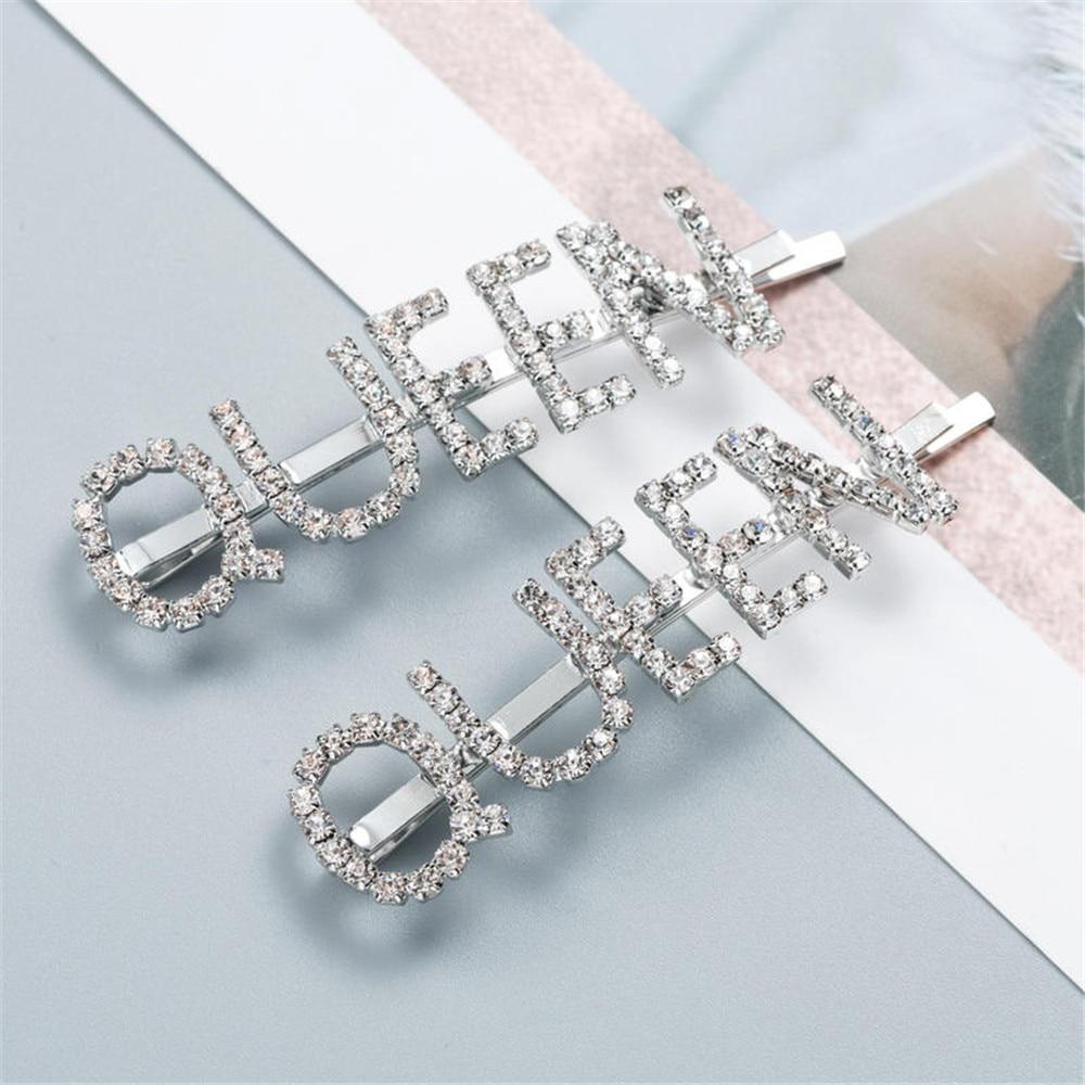 1 par temperamento reina letra horquillas cristal Diamante de imitación pasador de metal plata mujeres niñas accesorios para el cabello