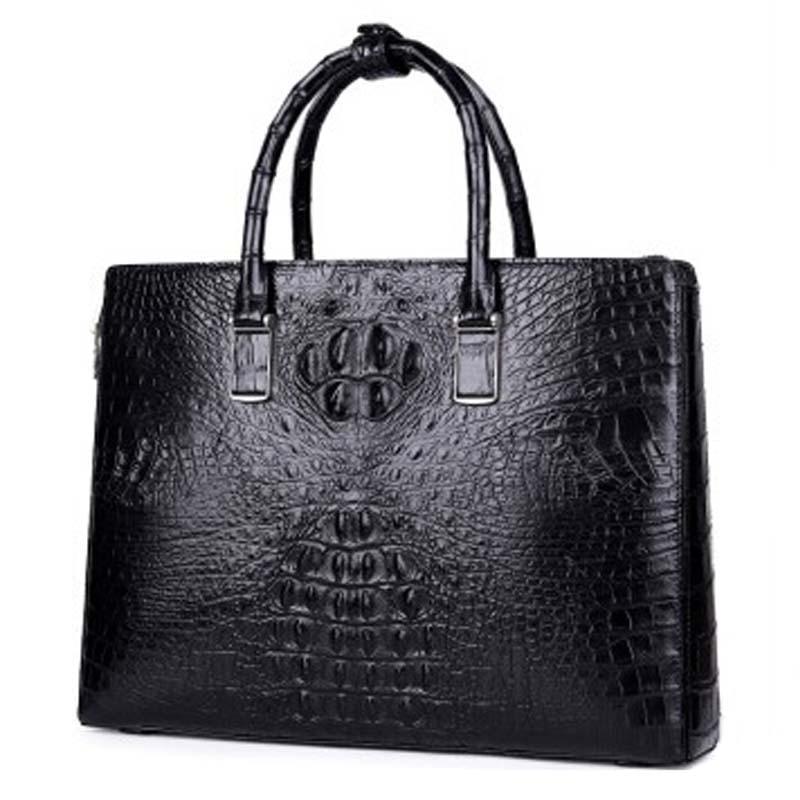 MSHG new fashion crocodile leather business briefcase men handbag  leisure handbag male crocodile bag black