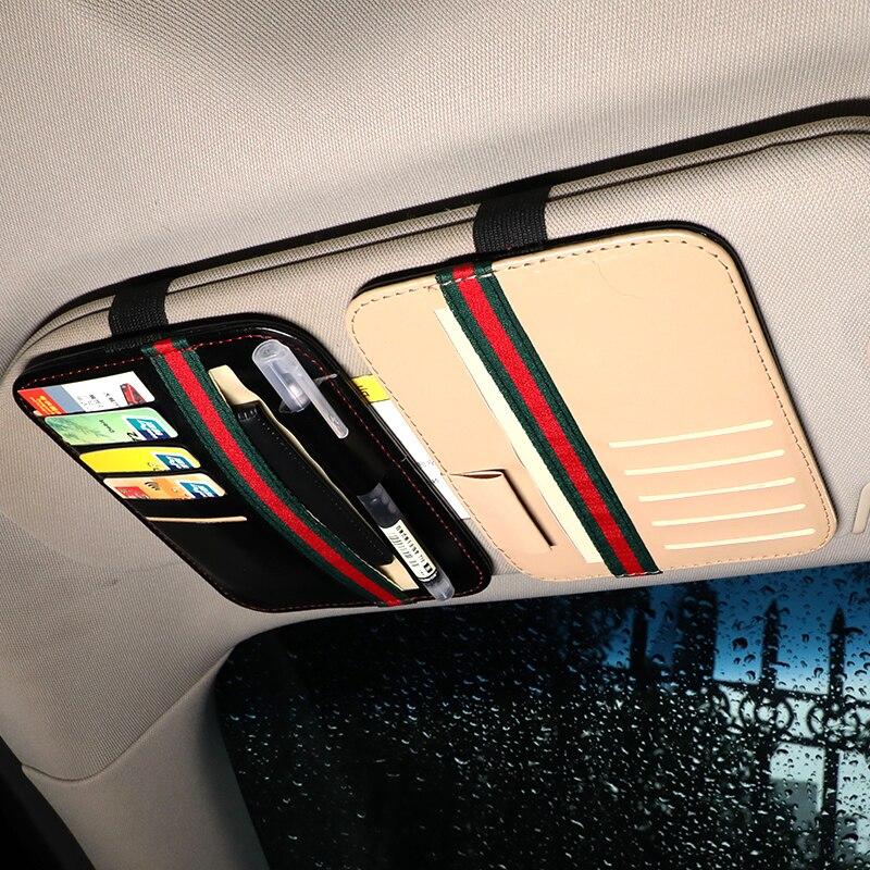 Автомобильный козырек от солнца, для карт держатель кожаная ручка держатель автомобильные аксессуары интерьерные много-Функция Билл карты...