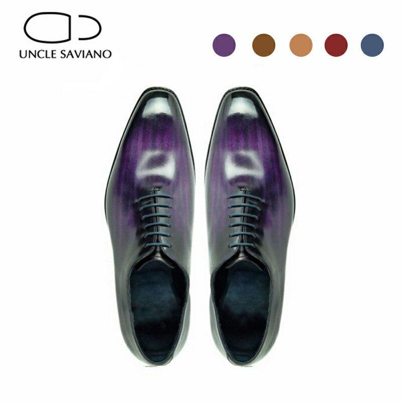 العم سافيانو أكسفورد فستان الزفاف رجل حذاء رسمي مصمم اليدوية الرسمي حذاء الرجال نمط جلد طبيعي أفضل حذاء رجالي