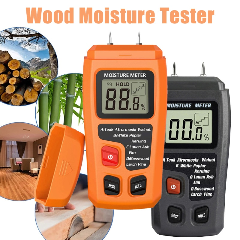 1pcs 0-99.9% Two Pins Digital Wood Moisture Meter Wood Humidity Tester Hygrometer Timber Damp Detector Large LCD Display digital wood moisture meter 7 categories of material moisture detection with lcd display backlight wood working tester