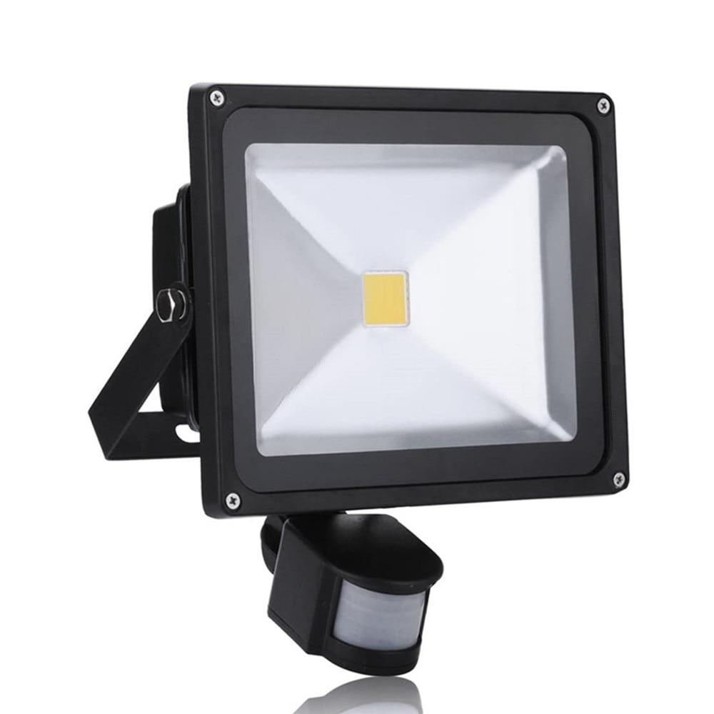 20 Вт 30 Вт 50 Вт PIR датчик движения светодиодный наружный прожектор 185 в-265 в водонепроницаемый Светодиодный прожектор для сада настенный уличн...