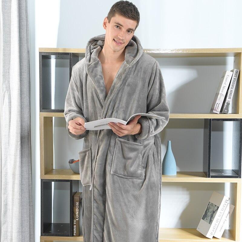 ¡Nuevo! Albornoz Franela suave Tmallfs de talla grande para hombre, albornoz de invierno para hombre, túnicas cálidas con capucha holgadas Extra largas para hombre