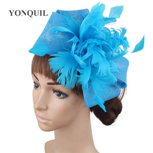 New Color Feather Headwear For Elegant Ladies Formal Fascinator Wedding Hair Accessories Mesh Headdress Hair Pin For Party Hat