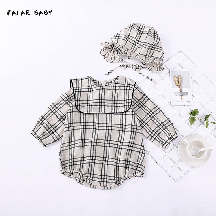 2020 New Fashion Baby Boys Girls Long Sleeve Rompers Toddlers Cotton Clothes Plaid Print Spring Autu