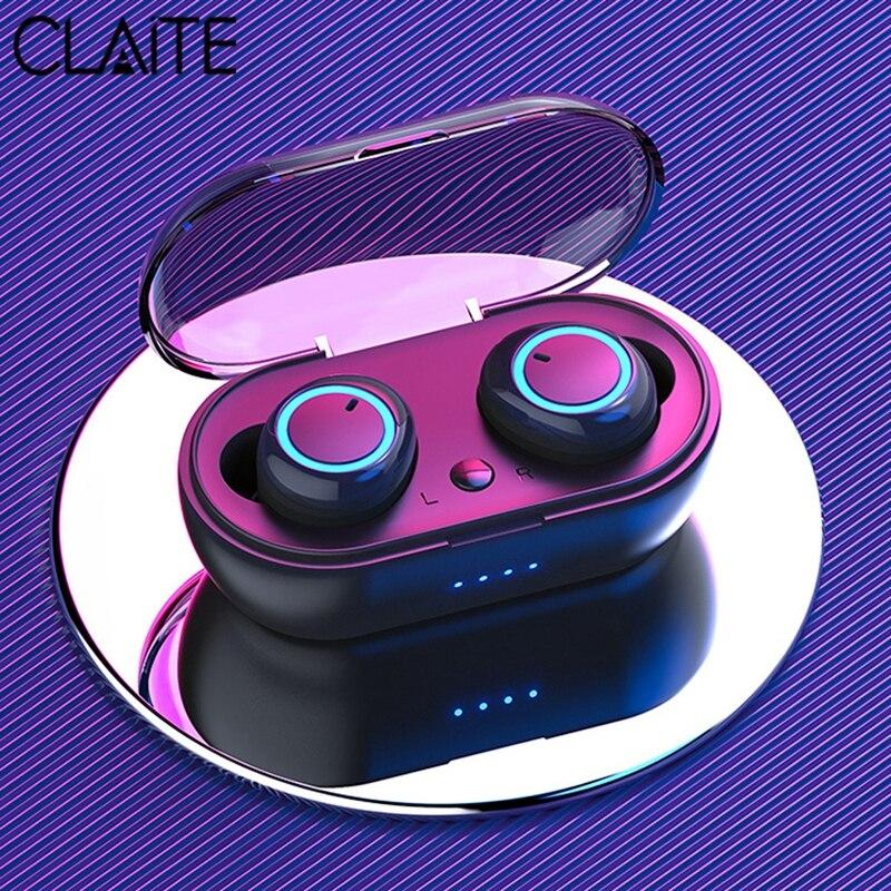 Auricular inalámbrico CLAITE TWS con bluetooth, estéreo HiFi inalámbrico, táctil inteligente, Binaural, llamada HD, auriculares con conexión automática, auriculares impermeables