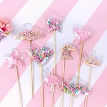 Adornos coloridos brillantes de lentejuelas para pastel de burbujas estrella de PVC corazón corona unicornio pastel de sirena decoración tarta de cumpleaños boda burbuja Decoración