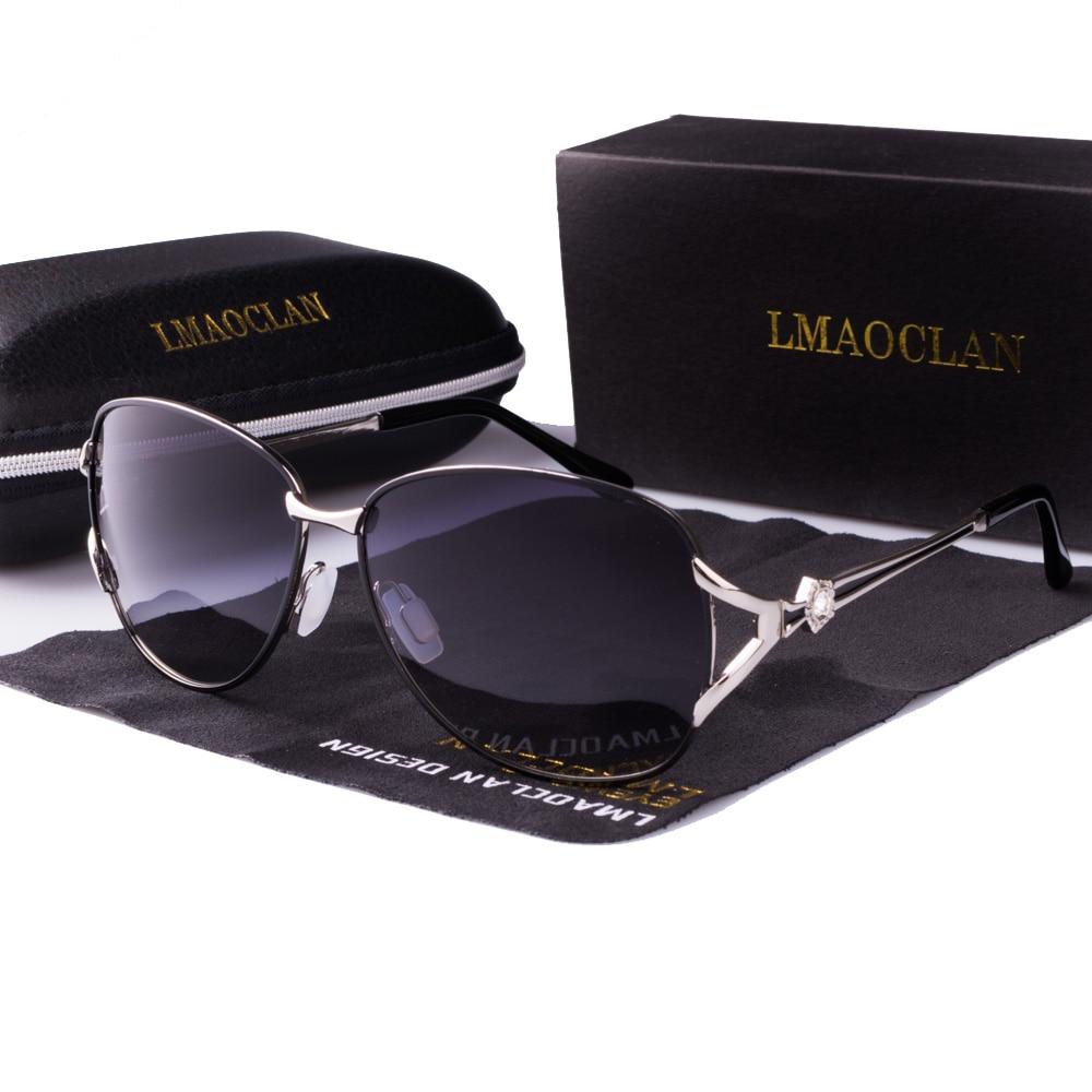 Gafas de sol polarizadas de Metal LMAOCLAN para mujer gafas de sol de marca Vintage de lujo para mujer