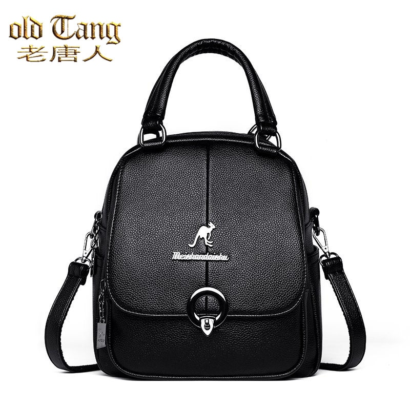 OLD TANG Women Leather Backpacks Fashion Solid Color Ladies Backpack Casual Travel School Bags for W