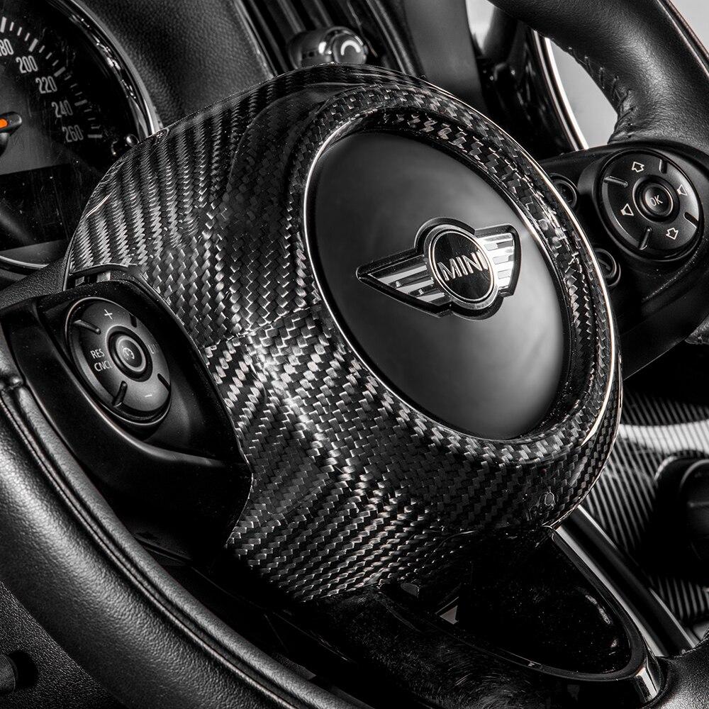 1PC Carbon Fiber Lenkrad Airbag Abdeckung Dekoration Aufkleber Auto Innen Modifikation Für BMW MINI COOPER Countryman F60