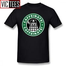 Mens Doctor Who T Shirts Caffeinate Exterminate T-Shirt Printed Men Tee Shirt Casual Funny 100% Cotton Tshirt