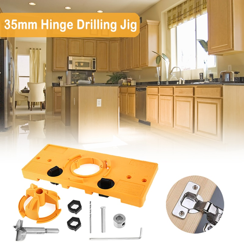 GanWei 35mm Hinge Jig Drill Guide Hole Locator Woodworking Tools for Fast and Easy Installation of Cupboard Cabinet Door Hinges toilet seat hinges screws wc hole fixing easy installation 2 pack