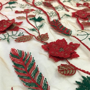 Lace159 Red Plants 3D Embroidered Mesh Bronzed Fabric For Women's Dresses/Evening Dresses/Wedding Dresses Transparent Fabrics