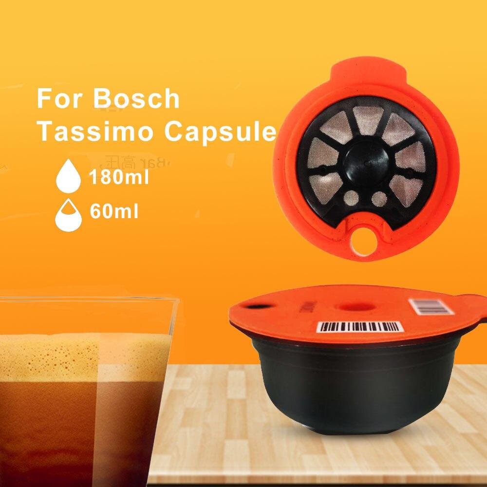 ICafilas180/60 مللي ماكينة صنع قهوة اسبريسو قابلة لإعادة الملء كبسولات لماكينة BOSCH-s Tassimoo قابلة لإعادة الاستخدام فلتر مضخة قهوة صديقة للبيئة