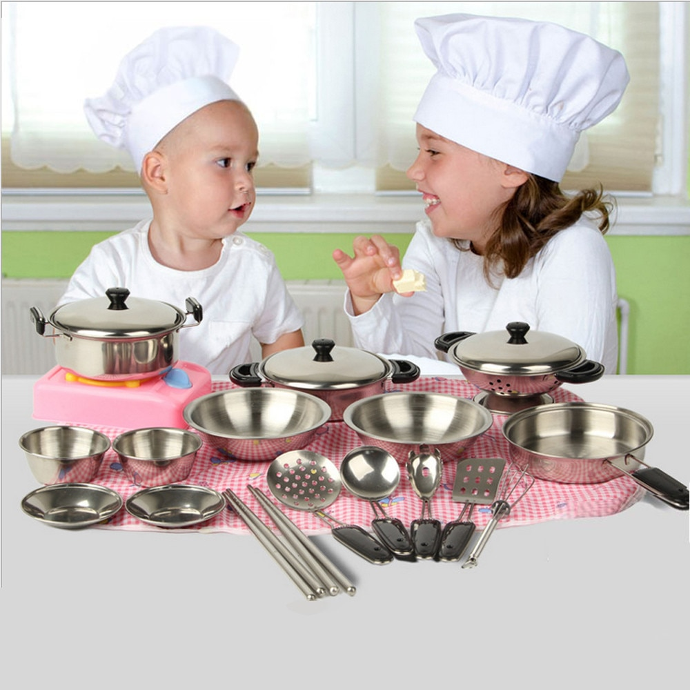 Baby Kids Toys 20Pcs Stainless Steel Pots Pans Cookware Miniature Toy Pretend Play Gift For Kid Birthday Christmas Gifts for kid