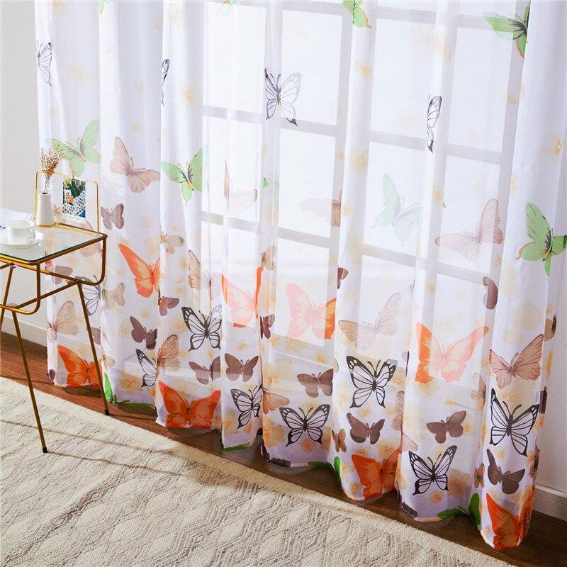 Topfinel-rideaux papillon transparents   Pour salon chambre à coucher, stores Tulles en Voile colorés, traitements de fenêtres de cuisine, rideaux de panneau