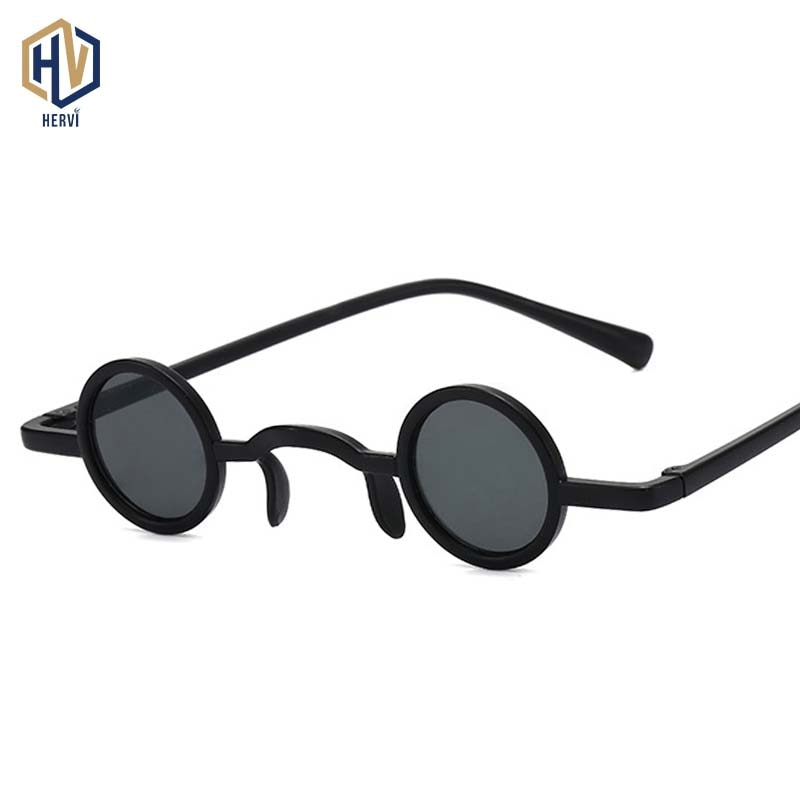 Steampunk Tiny Round Sunglasses Men Women Retro Small Metal Frame Sun Glasses Fashion Ocean Lens Eye