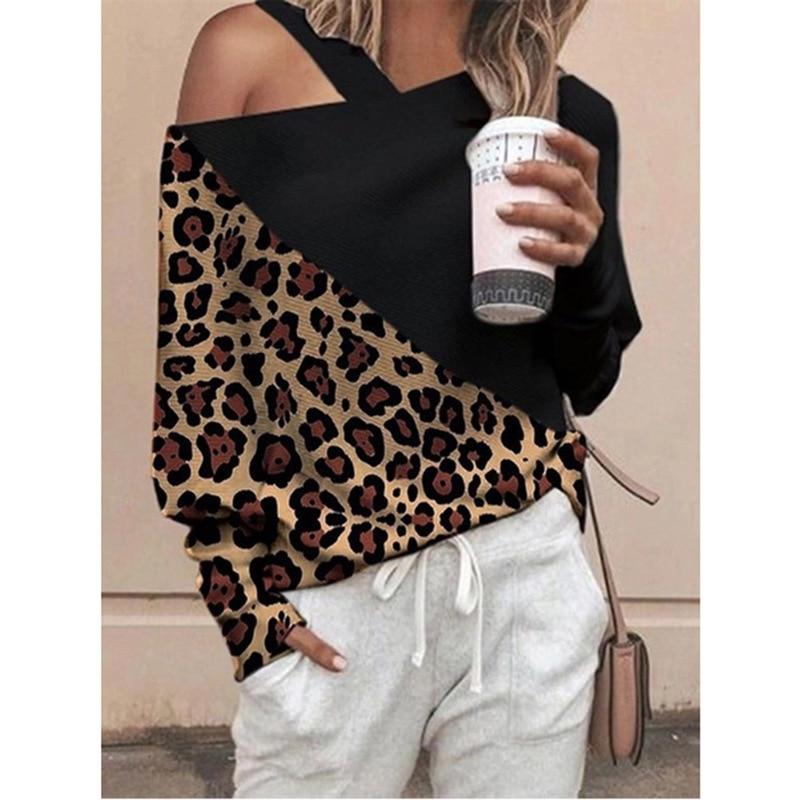 Camisa de manga comprida de um ombro de manga comprida de manga comprida de manga comprida de manga comprida de leopardo
