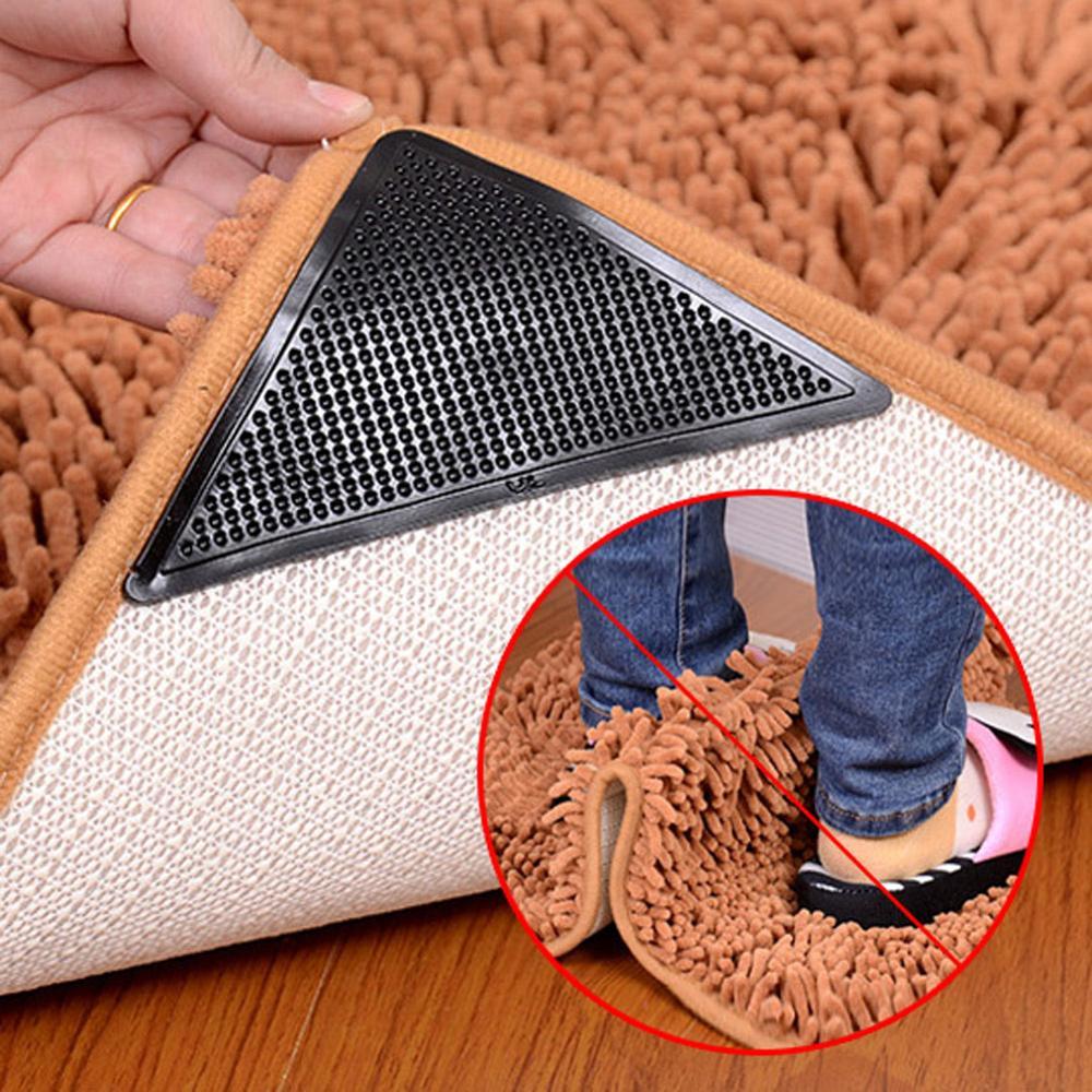4 Stuks Siliconen Rubber Tapijt Mat Patch Tapijt Tapijt Grijper Anti-Slip Grip Pad Wasbare Tapijt Grijper Stopper Tape sticker Hoeken Pa