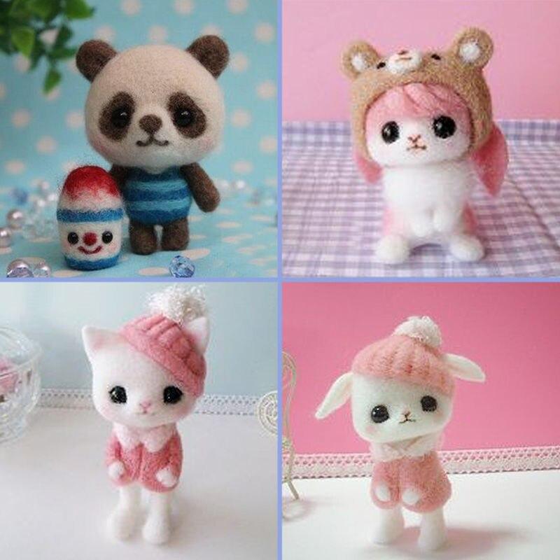 Non Finished Handicraft DIY Wool Felt Cute Panda Rabbit Creative Craft Toy Doll Poked Knitting Wool Felting Material Package Set