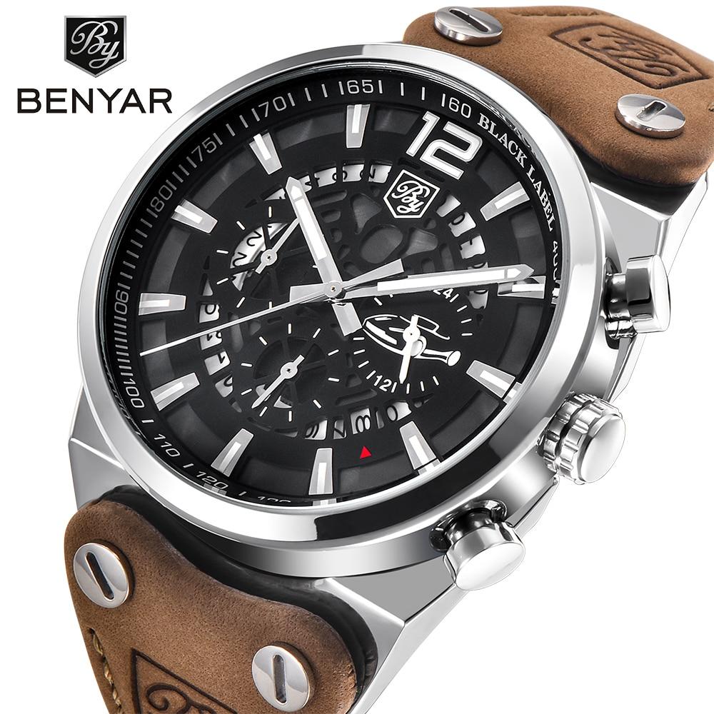 BENYAR Mens Watches Top Luxury Chronograph Sport Mens Watches Fashion Brand Waterproof Military quartz Watch Relogio Masculino