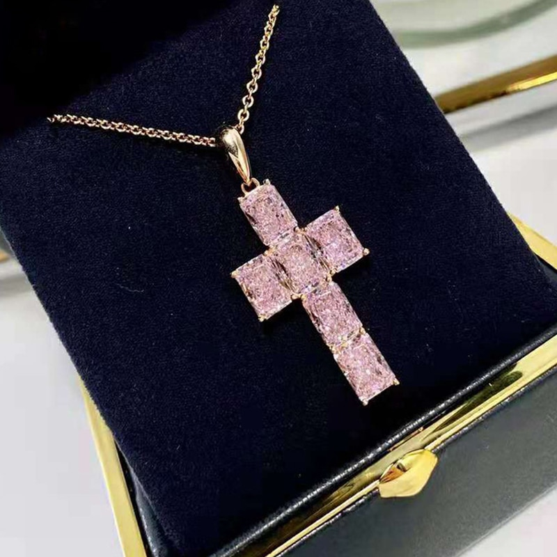 OEVAS 100% 925 Sterling Silver Pink High Carbon Diamond Cross Pendant Necklace For Women Sparkling Wedding Party Fine Jewelry