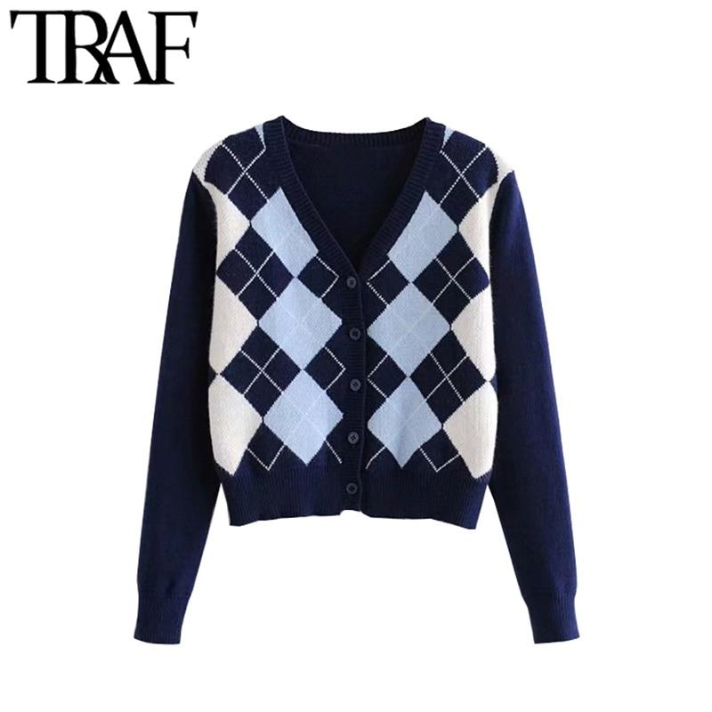 TRAF Women Cardigan Vintage Stylish Geometric Pattern Short Knitted Sweater Fashion Long Sleeve England Style Outerwear Chaqueta