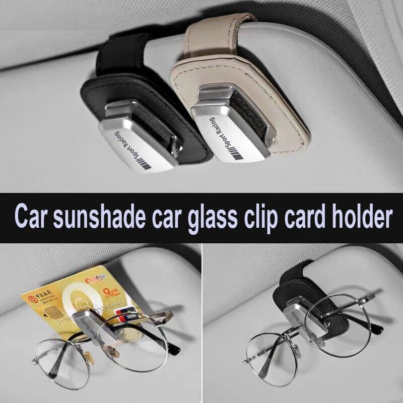 Genuine leather car sunshade car glass clip holder sticker for Mercedes Benz AMG w117 cla45 w205 c63 w212 e63 w207 w213 a45