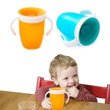 360 Degrees Rotated Leakproof Baby Learning Drinking Cup With Double Handle,Children Magic Water Training Cup Infants Bottle