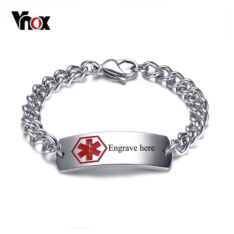 Vnox 15mm Freies Gravur Medical Alert ID Armbänder Für Männer Edelstahl Stange Von Asclepius Notfall Männlichen Laser Schmuck