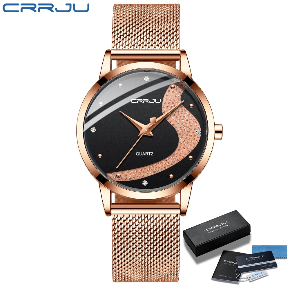 Women Watch CRRJU Top Brand Luxury Rhinestone Watches Casual Waterproof Quartz Ladies Dress Galaxy Mesh Watches relogio feminino enlarge