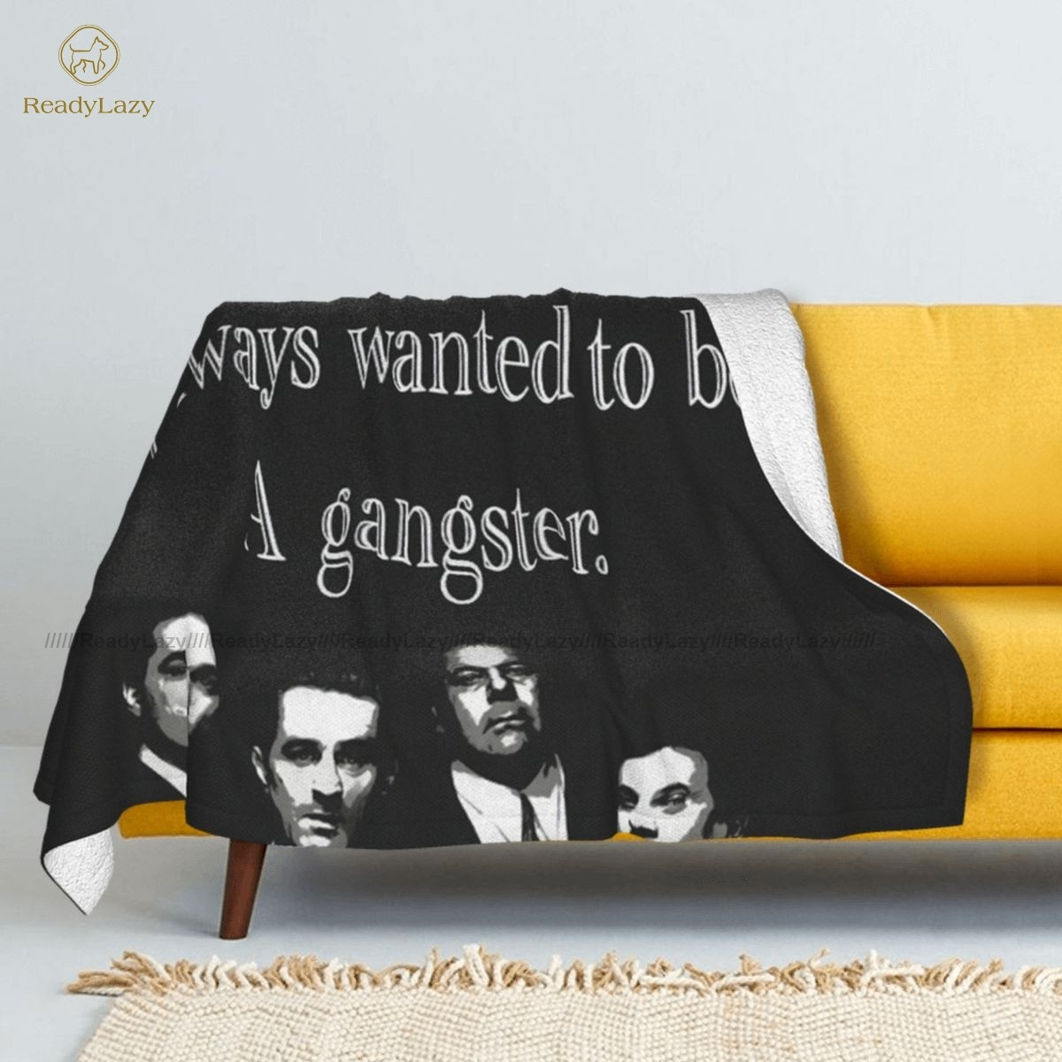 Gangsta-بطانية شيربا كبيرة من الصوف ، مفرش سرير ناعم عصري