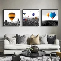 color balloon scenery picture wall art black and white landscape canvas painting modern posters and prints for living room decor