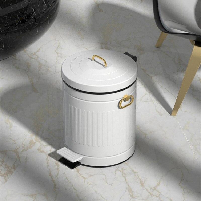 Nordic Retro Waste Bins Cute Lid Waterproof Metal Round Creative Room Waste Bins Office Cubo Reciclaje Household Products DG50WB enlarge