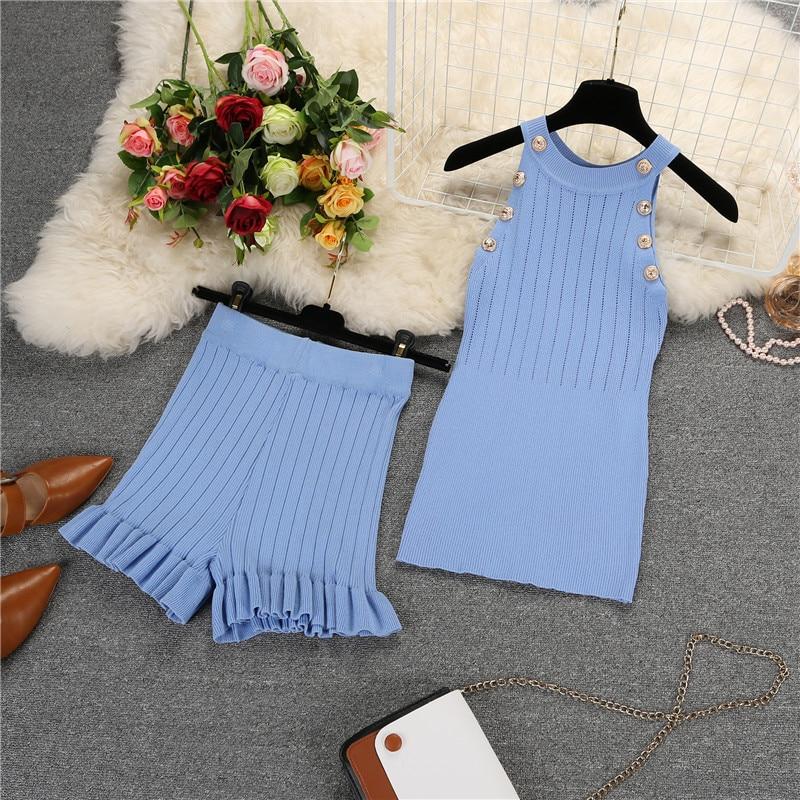Amolapha, chaleco tejido de verano para mujer, trajes cortos, sin mangas, botones, blusas Pantalones cortos, conjuntos de ropa