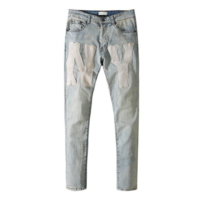American Famous Brand CU NY Patch Vintage Casual Jeans for Man Sweatpants Men Trousers Men's Pants Streetwear Men's Clothing