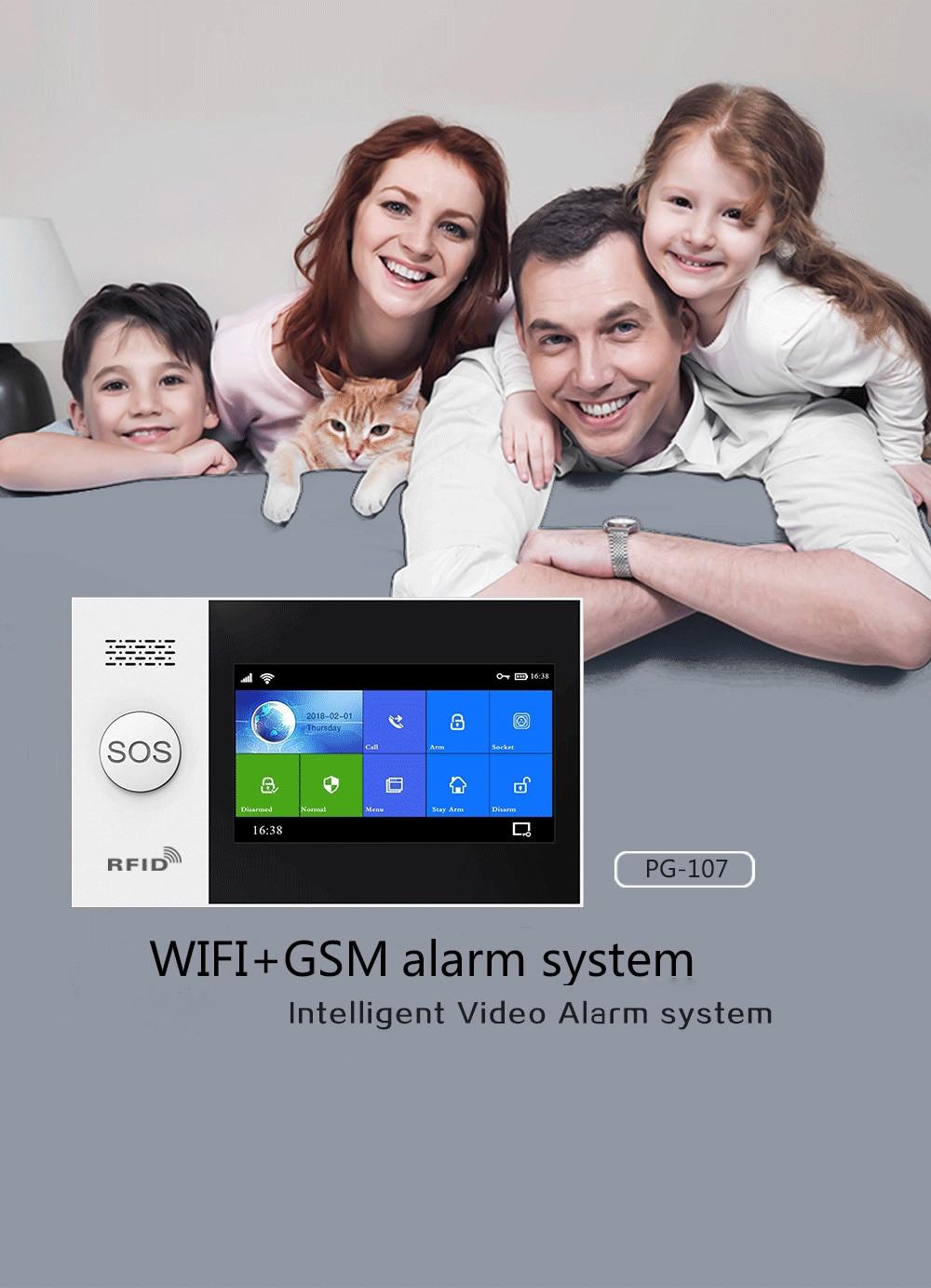 Wireless WIFI GSM Home Burglar Security Alarm System SMS Tuya Smart Life APP Control With Motion Sensor Supports Alexa & Google enlarge
