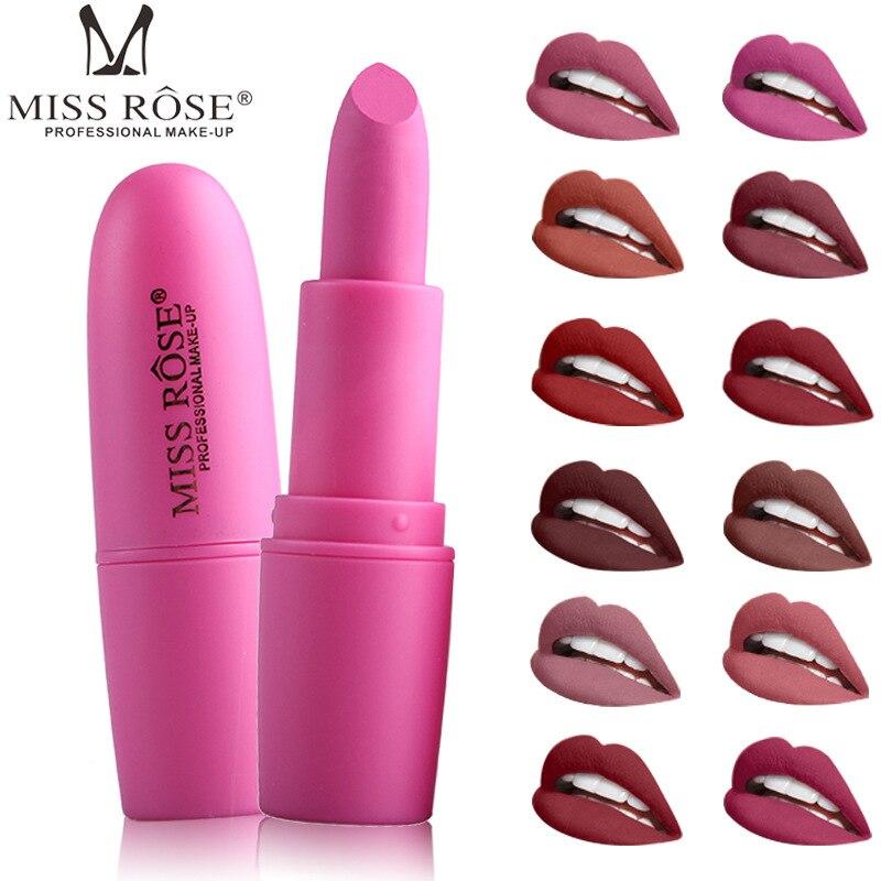 Lápiz de labios MISS ROSE mate, nuevo, resistente al agua, 18 colores, sexi, pigmento rojo marrón, maquillaje, lápices labiales mate, belleza de labios