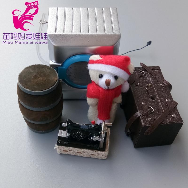1/6 bjd casa de muñecas accesorios mininatura simulación de jardín herramienta de tenis raqueta vino barril equipaje para muñeca barbie