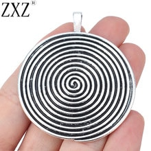 ZXZ 2pcs Tibetano Prata Espiral Grande Redemoinho Vortex Rodada Encantos Pingentes para Colar Jewelry Making Achados 60x52mm