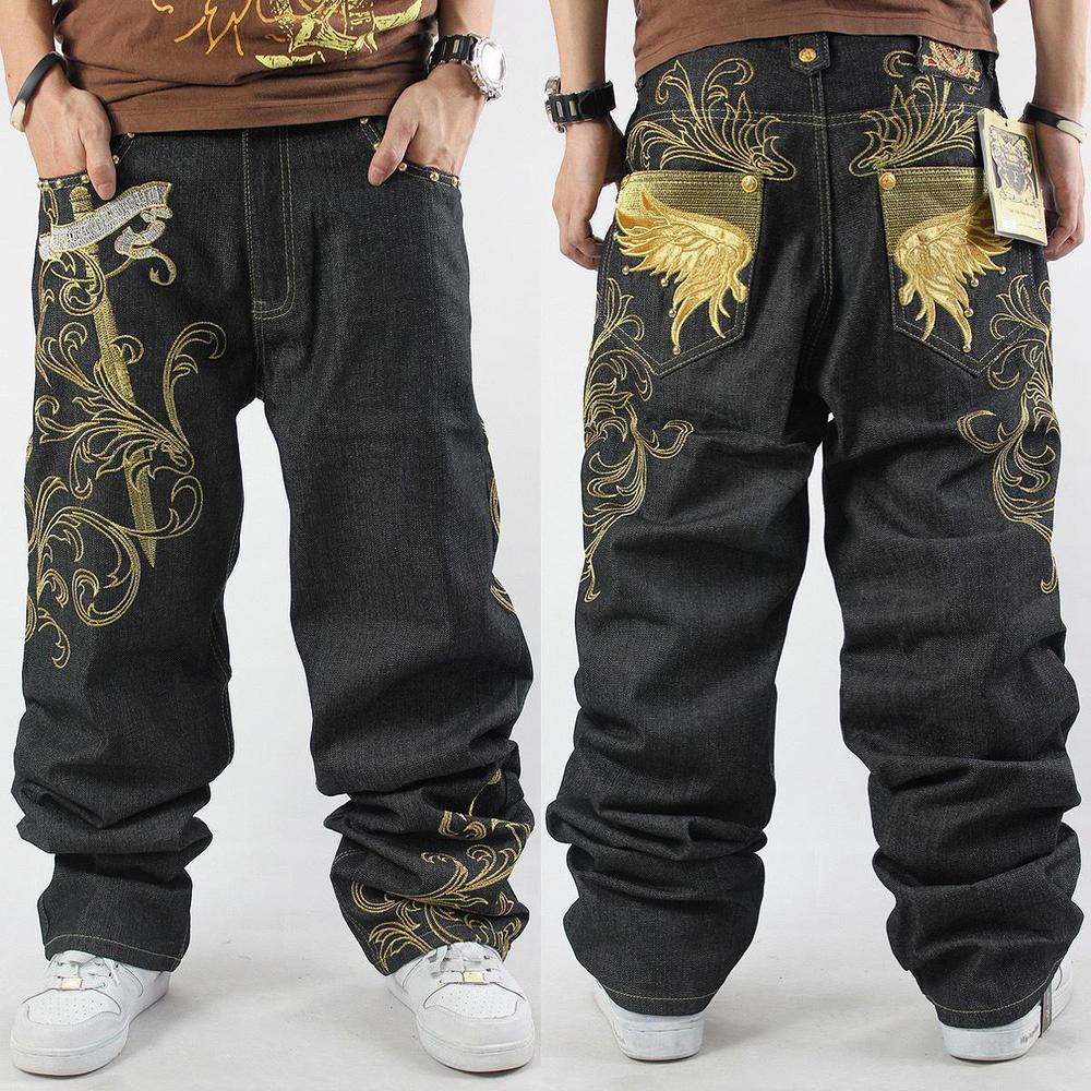2021 Loose Hip Hop Jeans Men Printed Tide Men's Dress Casual Denim Trousers Cotton Pattern Harem Pants