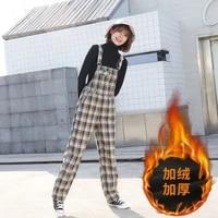 winter new short add velvet and thick plaid suspenders straight leg slim jumpsuit for women
