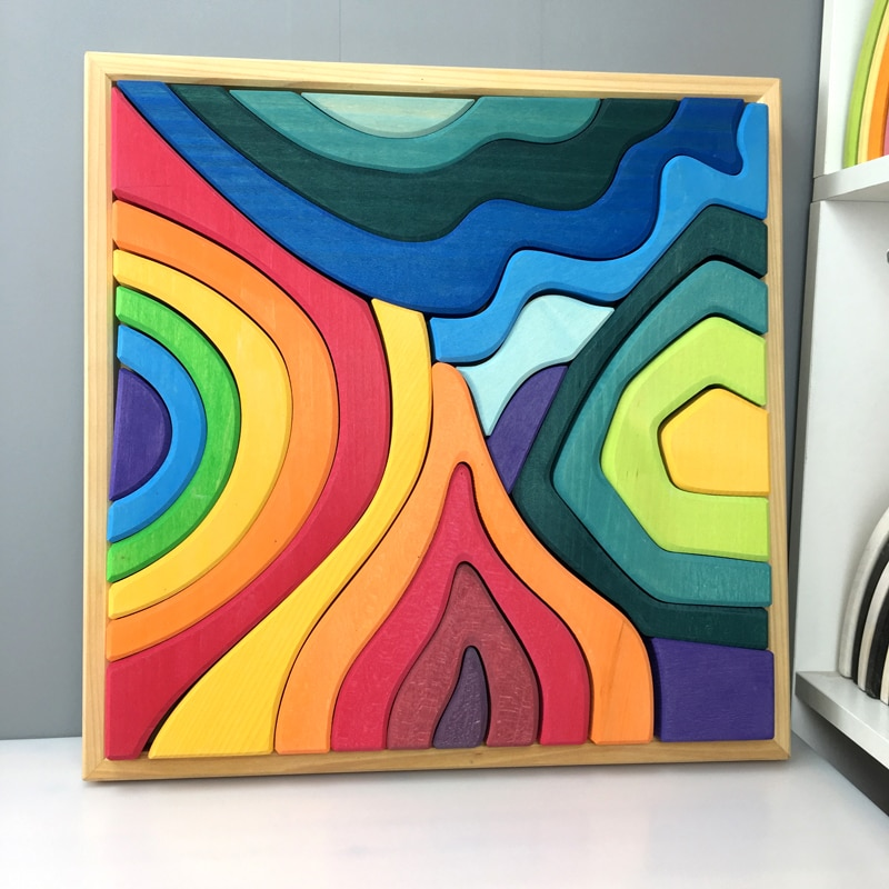 Gran oferta juguetes de madera de bloques de arcoíris preescolares para niños, bloques geométricos de construcción volcán/casa, regalo educativo de madera colorida