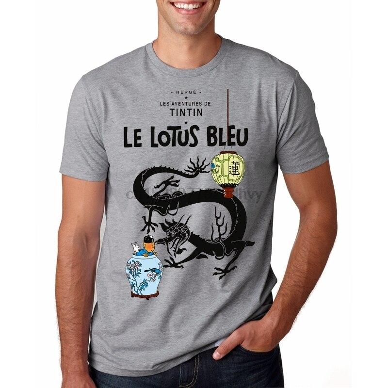 Camiseta divertida para hombre, camiseta con gráfico de Loto Azul Tintin