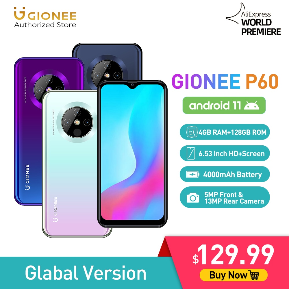 GIONEE P60 Android 11 Mobile Phone MTK6771 Octa Core Smartphone 4G+128G Cellphone 4000mAh Cubot Blackview Realme Umidigi Oukitel