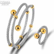 FYSARA multi-couche corde câble fil mode ensemble de bijoux femmes en acier inoxydable Bracelet anneau boule ronde à la mode ensemble de bijoux Couple