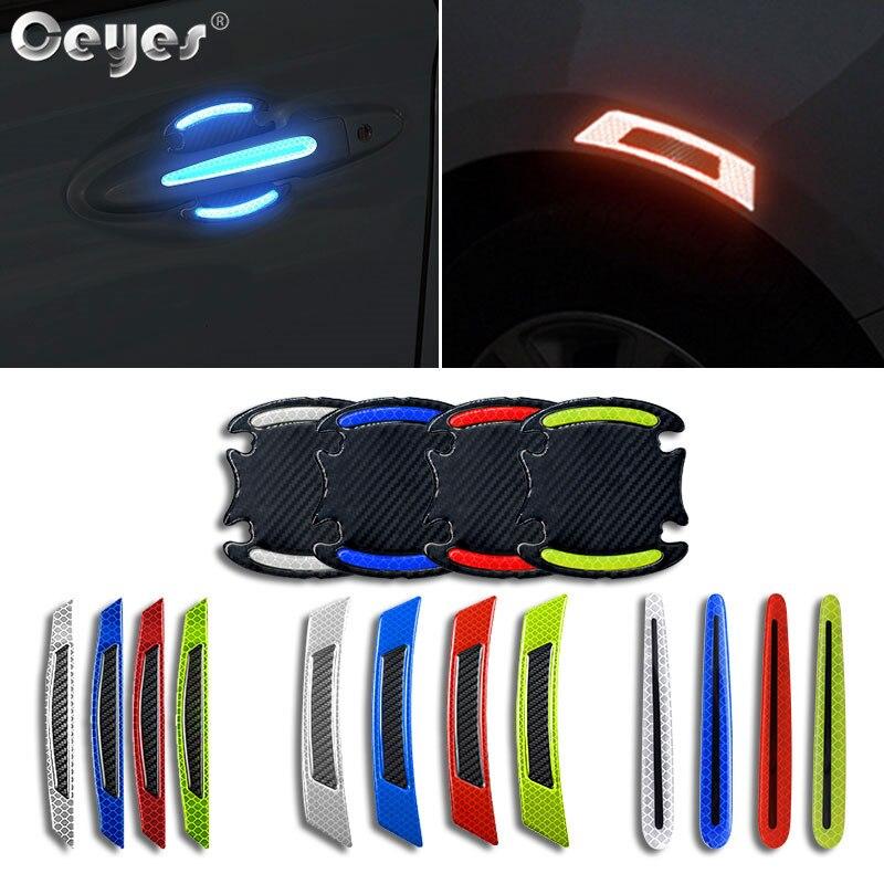 Ceyes acessórios do carro decalque fita reflexiva tiras de condução marca de segurança maçaneta da porta adesivo caso estilo automático para bmw série 3 e9