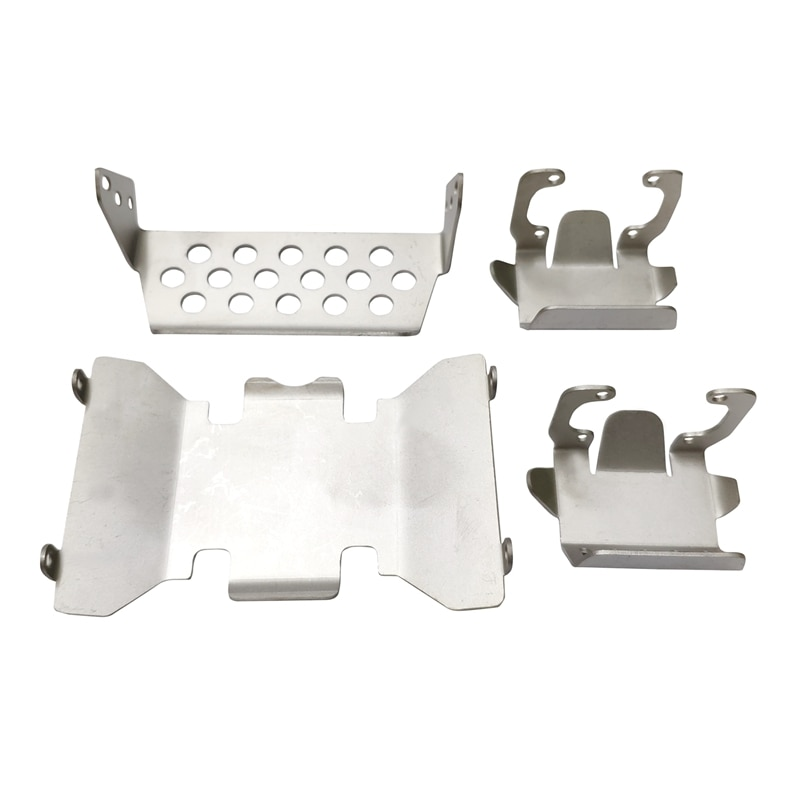 Stainless Steel Front Bumper Lower + Axle + Gearbox Mount Protection Skid Plate Set for 1/10 RC Crawler AXIAL SCX10 II 90046 900