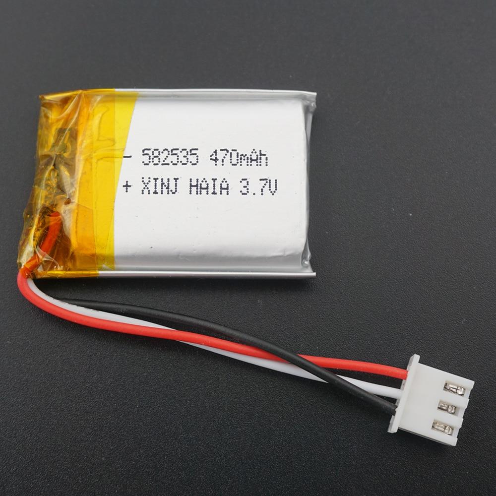 XINJ 3,7 V 470mAh batería recargable de polímero de litio li po celda 582535 3pin JST enchufe de 2,54mm para DIY GPS sentado Cámara NAV conduciendo