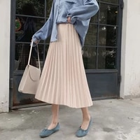 new chiffon womens skirt in spring and summer of 2021 womens skirt high waist pleated solid versatile elastic waist mid length
